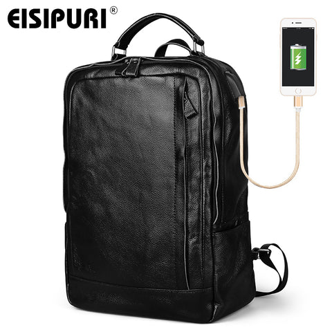EISIPURI Genuine Leather 15.6'' Laptop Backpack