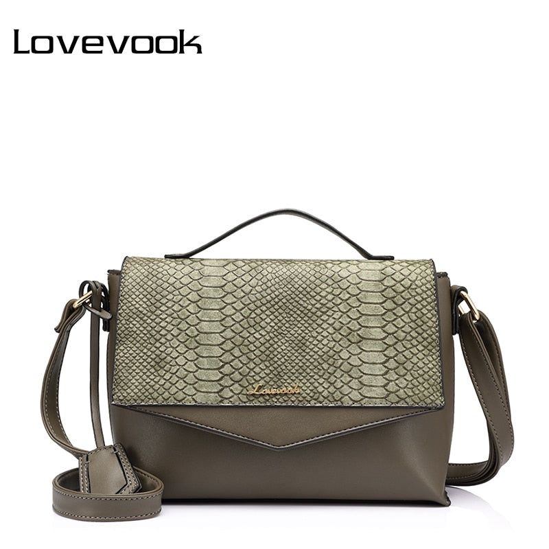 LOVEVOOK Snakeskin Leather Messenger Bag