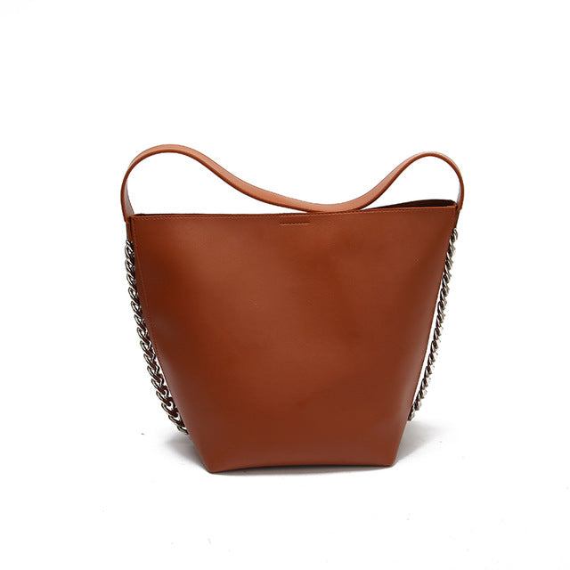 SAJOSE Genuine Leather Bucket Bag
