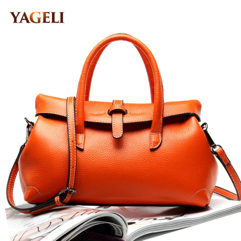 YAGELI Flap Style Leather Satchel
