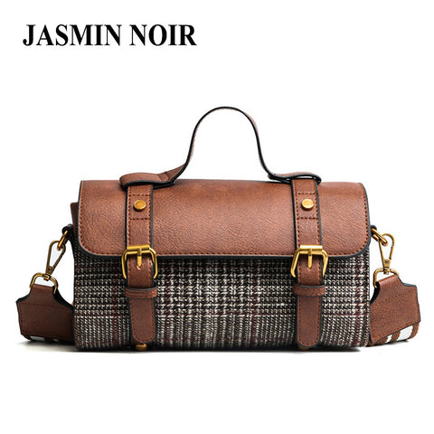 JASMIN NOIR Tweed Leather Handbag