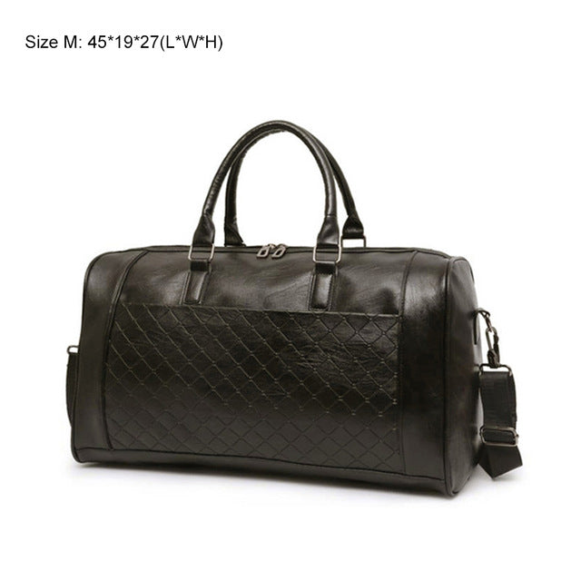KEDOME Genuine Leather Checkered Duffel Bag