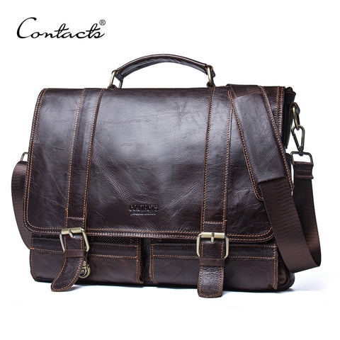 CONTACTS Genuine Leather Messenger Briefcase