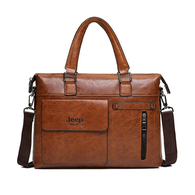 "JEEP BULUO Rustic Leather 13"" Business Briefcase"