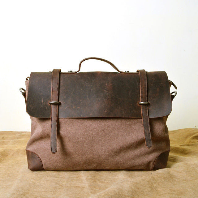 AETOO Canvas Leather Messenger Bag