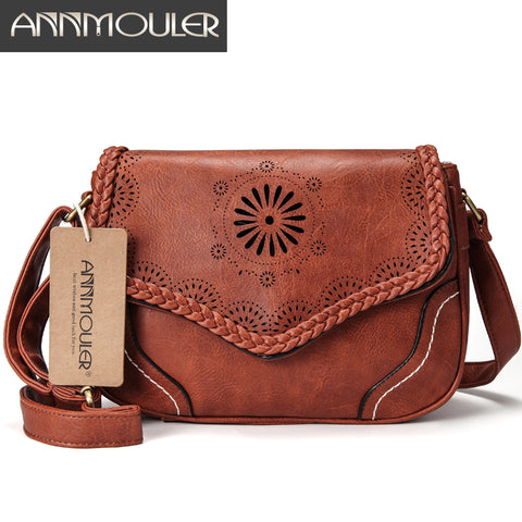 Annmouler Cut Out Design Leather Messenger Bag