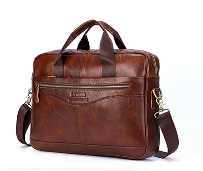 "Genuine Leather 16"" Laptop Briefcase"