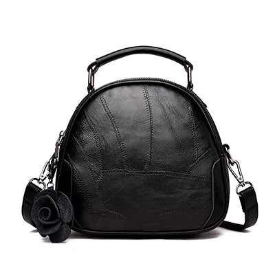 HANEROU Leather Handbag with Rose Design