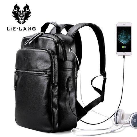 "LIELANG 15.6"" Leather Laptop Backpack"