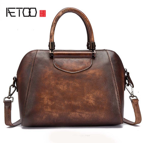 AETOO Mottled Leather Handbag