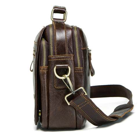 CONTACTS Vintage Style Leather Messenger Bag