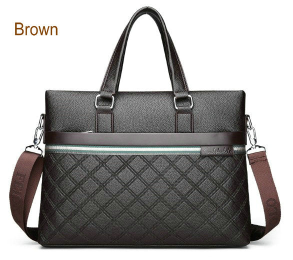 RANSTYLE Genuine Leather Plaid Business Bag