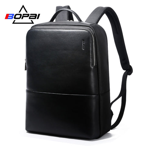 BOPAI 14 Inch Leather Laptop Bag