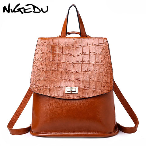 NIGEDU Crocodile Leather Backpack