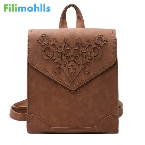 Embossed Women School Backpack
