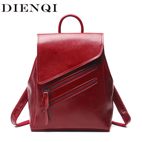 DIENQI Rustic Genuine Leather Backpack