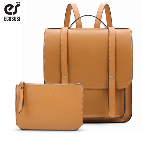 "ECOSUSI 13"" Genuine Leather Messenger Backpack"