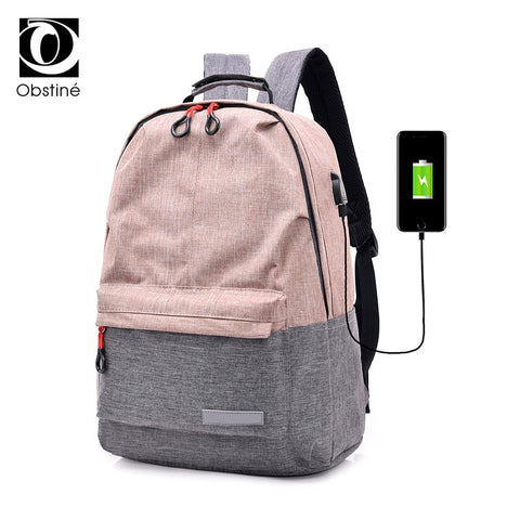 Two-Tone Canvas School Backpack