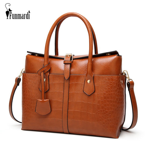 FUNMARDI Crocodile Patterned Leather Satchel