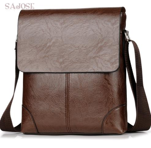 SAJOSE Genuine Leather Messenger Bag