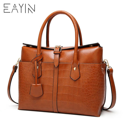 EAYIN Rustic Genuine Leather Satchel Bag