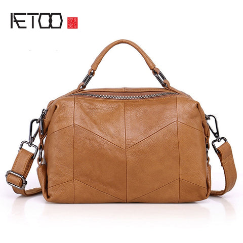 AETOO Geometric-Inspired Leather Bowler Handbag