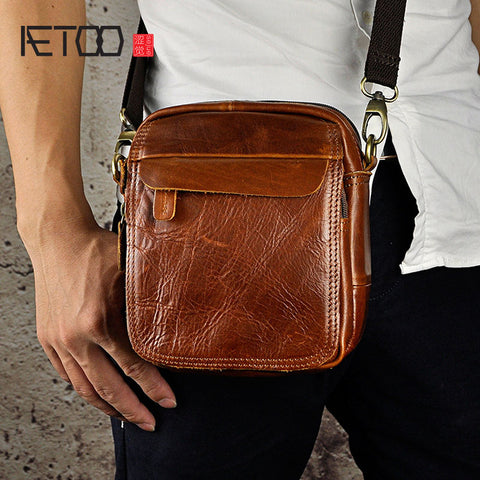 AETOO Rustic Leather Sling Bag