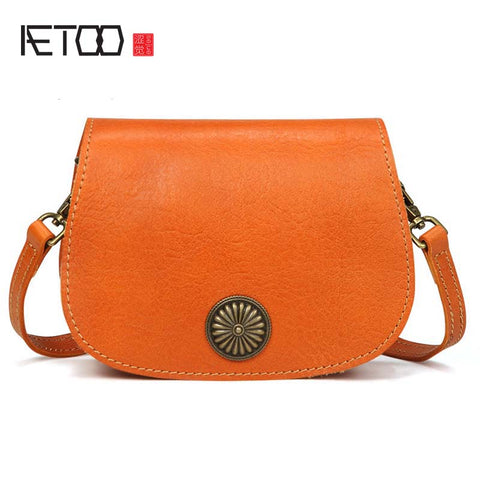 AETOO Floral Embellished Leather Saddle Bag