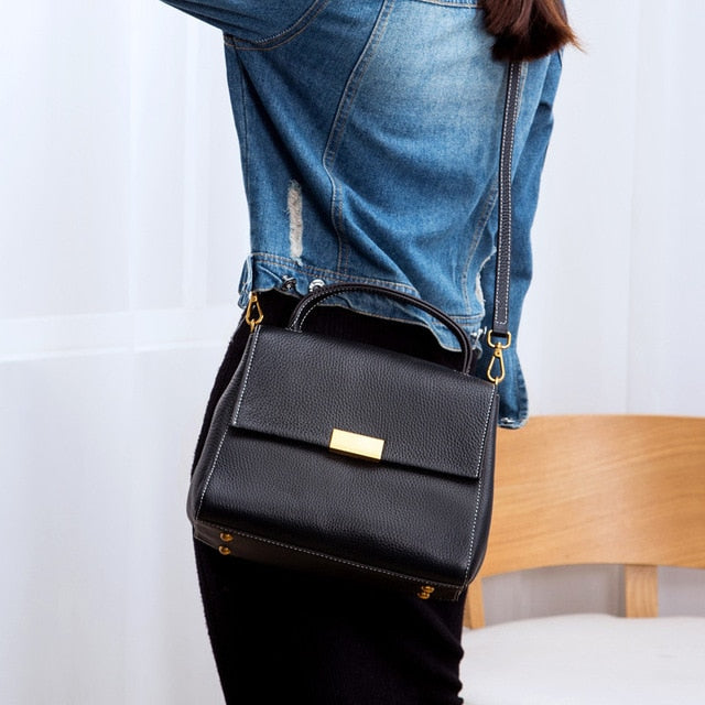 YAGELI Retro Leather Satchel Bag