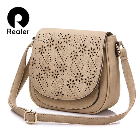 REALER Cut Out Floral Design Saddle Bag