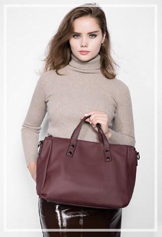 Casual Stylish Woman With Burgundy Vintage Business Bag - Front View