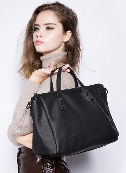 Casual Stylish Woman With Black Vintage Business Bag - Side View