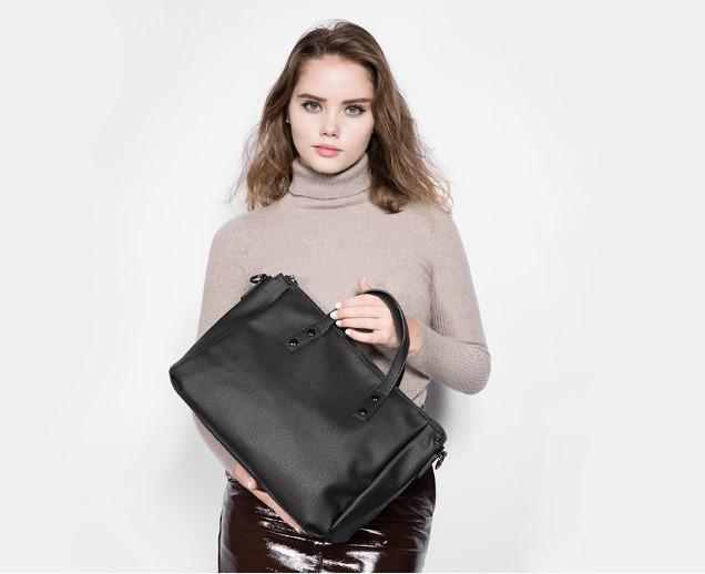 Professional Stylish Woman With Black Vintage Business Bag-Front View