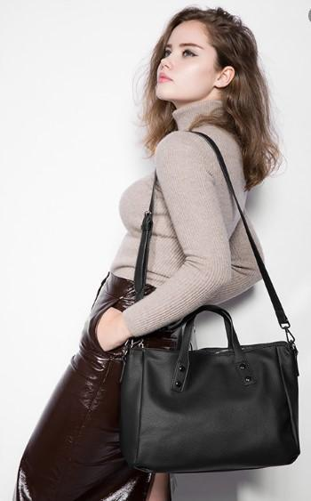 Professional Stylish Woman With Black Vintage Business Bag-Side View