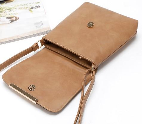 Casual Stylish Brown Cut Out Design Messenger Bag- Top Open View