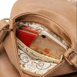 Casual Stylish Brown Cut Out Design Messenger Bag- Internal  View