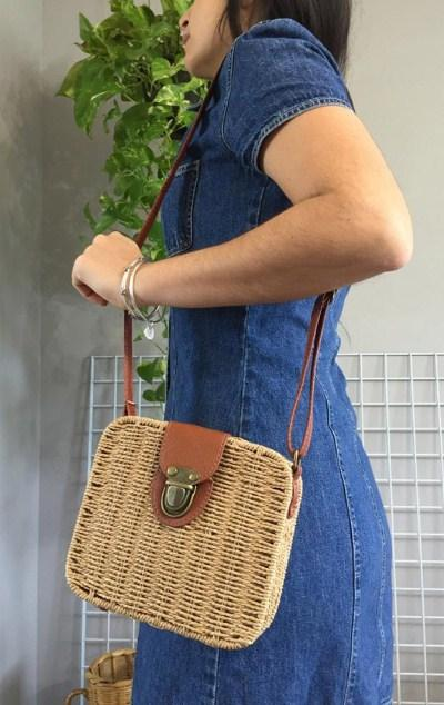 Casual Stylish Woman With Light Brown Spring-Inspired Basket Crossbody Bag - Side View