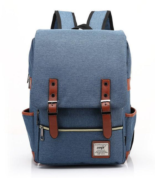 "Retro Style Backpack-bag-bagprime-Blue-15""-BagPrime - Global Prime Bag Fashion Platform"