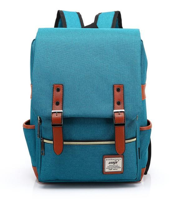 "Retro Style Backpack-bag-bagprime-Blue Green-15""-BagPrime - Global Prime Bag Fashion Platform"