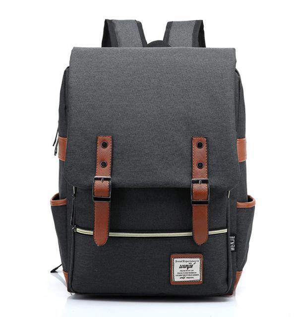 "Retro Style Backpack-bag-bagprime-Dark Grey-15""-BagPrime - Global Prime Bag Fashion Platform"