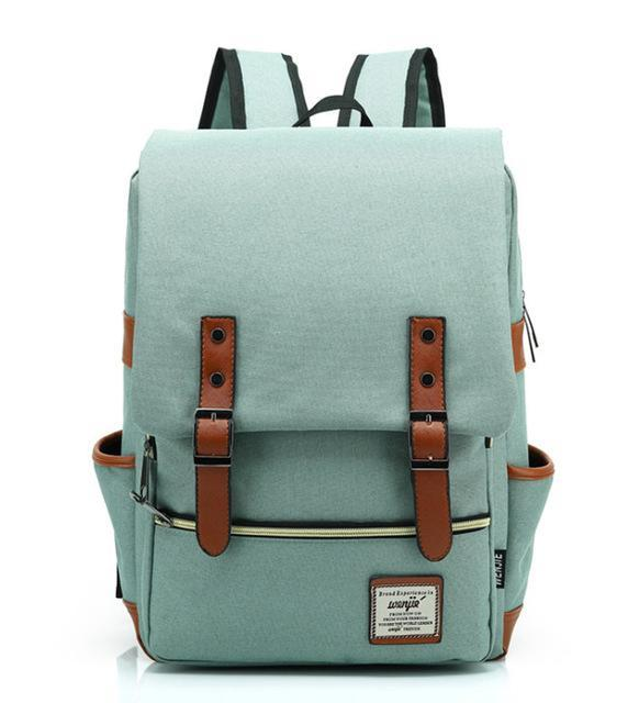 "Retro Style Backpack-bag-bagprime-Light Green-15""-BagPrime - Global Prime Bag Fashion Platform"