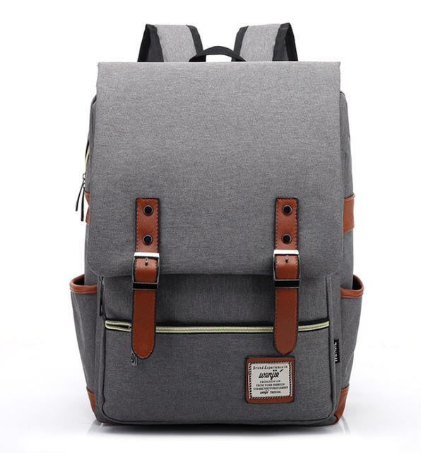 "Retro Style Backpack-bag-bagprime-Light Grey-15""-BagPrime - Global Prime Bag Fashion Platform"