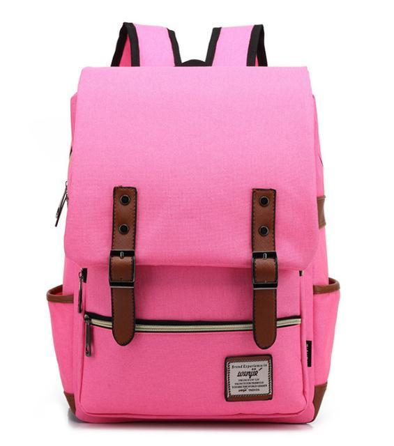 "Retro Style Backpack-bag-bagprime-Pink-15""-BagPrime - Global Prime Bag Fashion Platform"