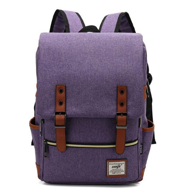 "Retro Style Backpack-bag-bagprime-Purple-15""-BagPrime - Global Prime Bag Fashion Platform"