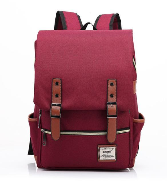"Retro Style Backpack-bag-bagprime-Wine Red-15""-BagPrime - Global Prime Bag Fashion Platform"