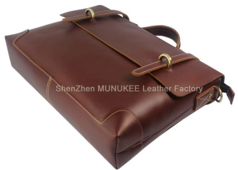 Professional Stylish Brown Style Leather Briefcase - Top View