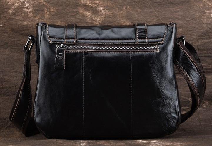 Casual Stylish Black Retro Style Messenger Bag- Back View