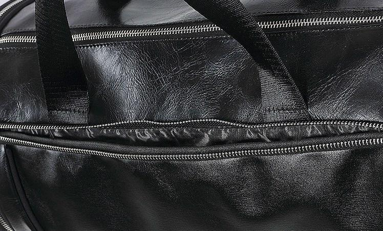 Casual Stylish Black Statement Duffel Bag - Close Top View
