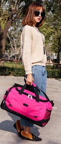 Casual Stylish Woman With Pink Utilitarian Gym Bag - Front View