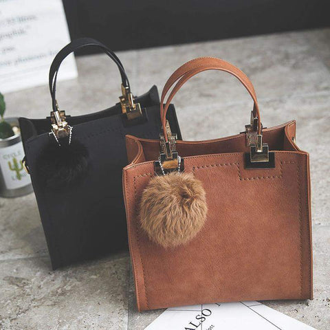 Structured Mini Tote Bag with Furball - BagPrime - Look Your Best with Amazing Bags